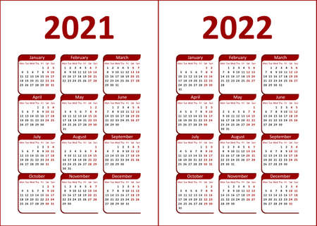 Calendar for 2021, 2022. Red and black letters and figures on a white background. Week starts on Monday.