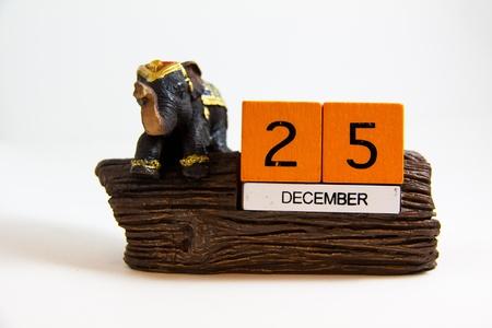 elephant calendar resin 25 december date - Thai souvenir Stock Photo