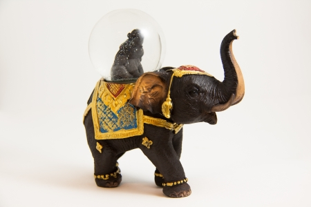 elephants snow ball Thai souvenir on white backgroud