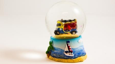 tuk tuk glass ball on white backgroud - Thai souvenir