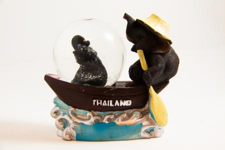 elephant floating market snow ball Thai souvenir on white backgroud Stock Photo