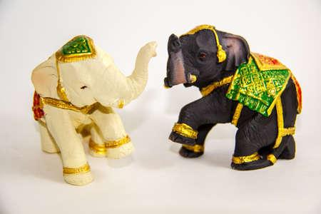 Elephant Black and White color decor on white background - Thai Souvenir