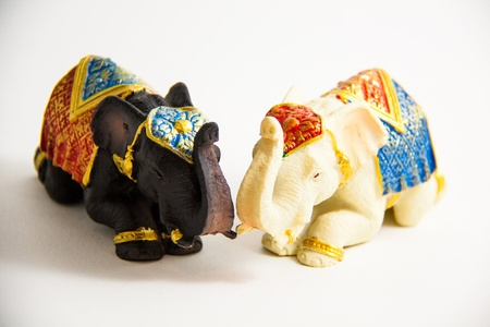 Two Elephant Black and White Color grovel decor on white background - Souvenir