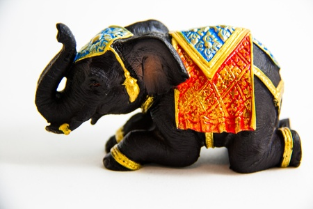Elephant Black Color grovel decor on white background - Thai Gift Stock Photo