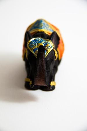 Elephant Black Color grovel decor on white background - Thai Gifts Stock Photo