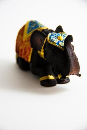 Elephant Black Color grovel decor on white background - Thai Souvenir