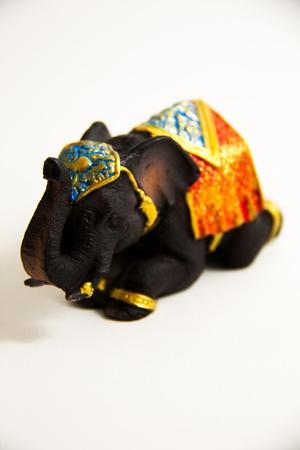 Elephant Black Color crouch decor on white background - Thai Souvenirs
