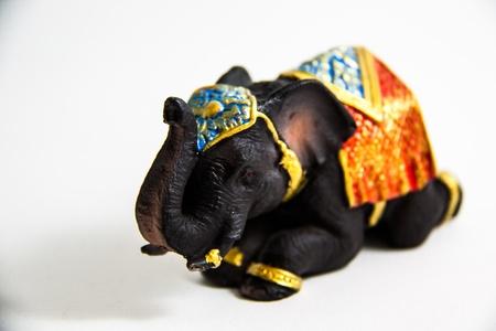 Elephant Black Color grovel decor on white background - Thai Souvenirs Stock Photo