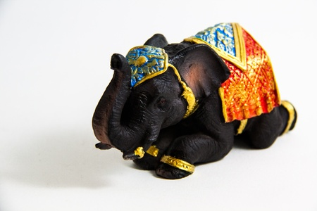 Elephant Black Color prostrate decor on white background - Thai Souvenirs Stock Photo