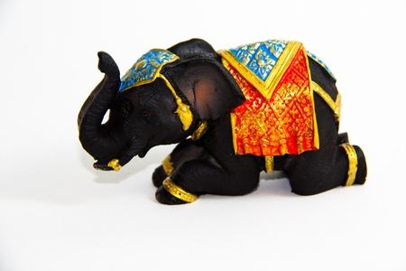 Elephant Black Color crow decor on white background - Thai Souvenirs