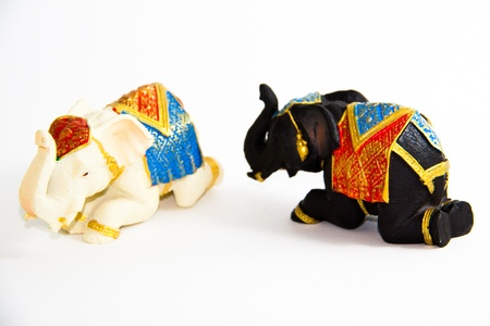 Two Elephant Black and White Color fall into swoon on white background - Thai Souvenirs