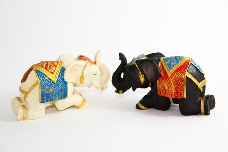 Elephant Black and White Color crawl on white background - Thai Souvenirs