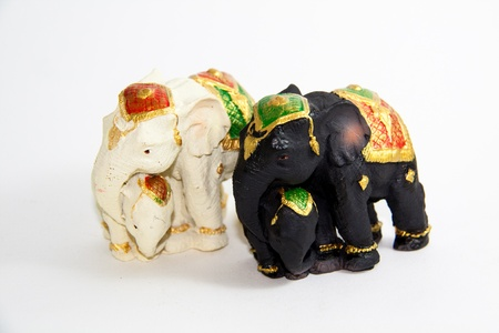 Two Elephant Thailand baby white and black color - Thai souvenir