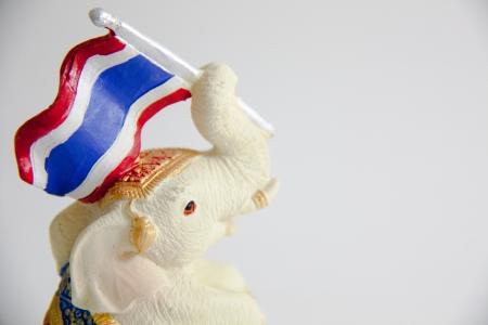 Elephant Waving flag print of Thailand on white background