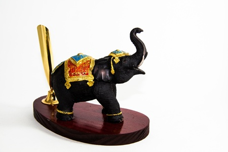 Thai Elephant color black resin no pen home decor - Thai souvenir