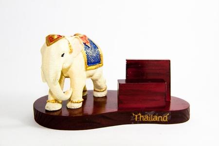 Thailand Elephant color white resin for input card home decor - Thai souvenirs Stock Photo