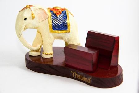 Thai Elephant color white resin blank card home decor - Thai souvenir Stock Photo