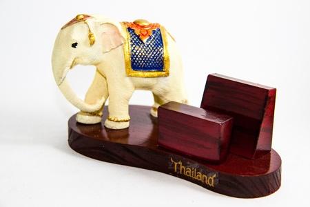 Thai Elephant color white resin for input card home decor - Thai souvenir