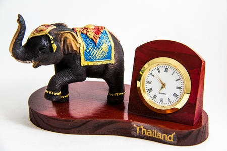 Thai Elephant color black resin with clock for home decor - Thai souvenirs Stock Photo