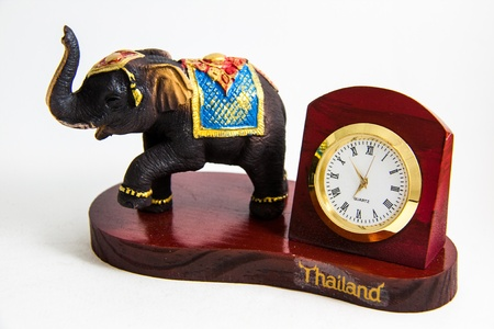 Thai Elephant color black resin with clock for home decoration - Thai souvenirs