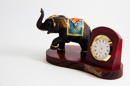 Thailand elephant color black resin with clock for home decoration - Thai souvenirs