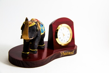 Elephant color black resin with clock for home decoration - Thai souvenirs