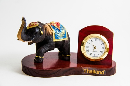Thailand elephant color black resin with clock for home decoration - Thai souvenir Stock Photo