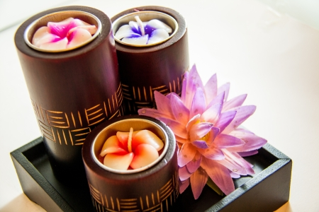 Spa candle relax aromatherapy tool with flower handmade - Thai souvenir