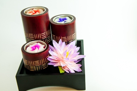 Candle spa aromatherapy tool with bloom - Thai gifts Stock Photo - 21962463