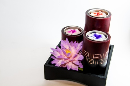 Candle spa aroma therapy products with Lotus - Thai souvenirs Stock Photo - 21962467