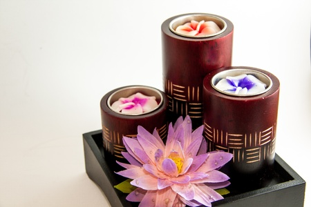 Spa aromatherapy candle product with Lotus - Thai gifts Stock Photo - 21962469