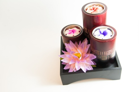 Candle spa aromatherapy product with water lily - Thai gifts Stock Photo - 21962470