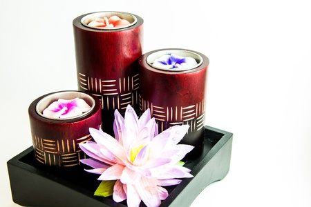 Candle spa therapy tool with flower - Thai gift Stock Photo - 21962476