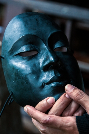 Theatre concept plastic masks  Image photo
