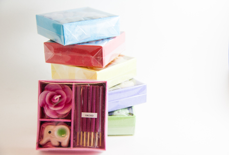 Candle spa aroma therapy tool in box - Thai gifts  Image Stock Photo