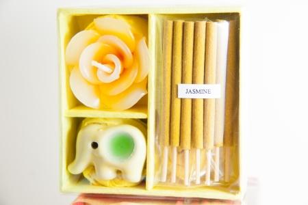 Yellow Candle spa aromatherapy tool - Thai gifts  Image Stock Photo