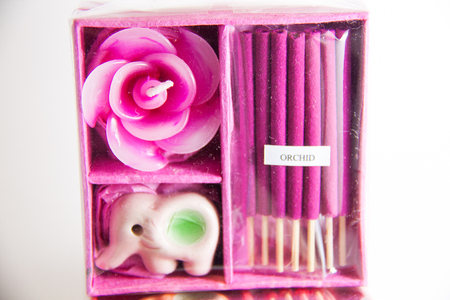 Pink Candle spa aromatherapy tool - Thai gifts  Image Stock Photo