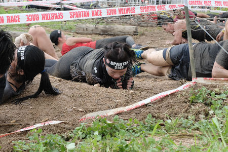 Pattaya, Chonburi. THAILAND - SEPTEMBER 9, 2017: Competitors participate in the 2017 Spartan Race obstacle racing challenge in Pattya, Spartan Race Thailand 2017 at Siam Country Club, Pattaya on September 9, 2017 Editorial