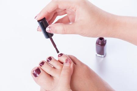 toenail: toenail painting practice Stock Photo