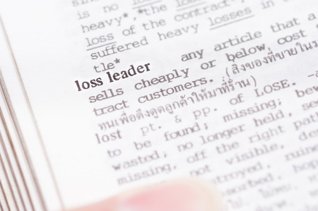 loss leader: Dictionary page with word  loss leader  in focus