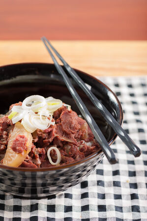 stewed: Japanese style beef stewed with rice