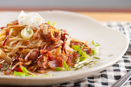 Spaghetti with bacon and dreid chilli, Italian food in Japanese style photo