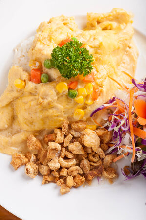 crackling: Rice with omelet vegetables and crackling.