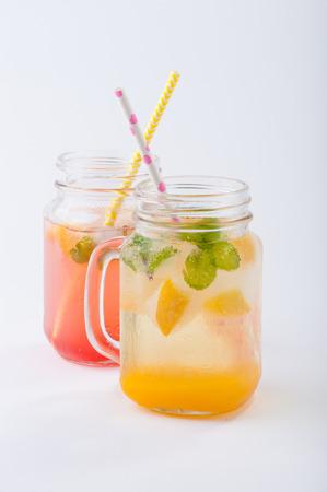 Mango sodas in modern style on white table photo
