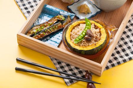 herbs boxes: Vegetarian bento set in wood box.