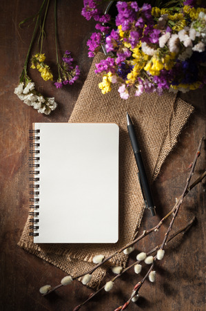 Small notepad with pen on rustic wood background with low key scene. Stock Photo - 39376474