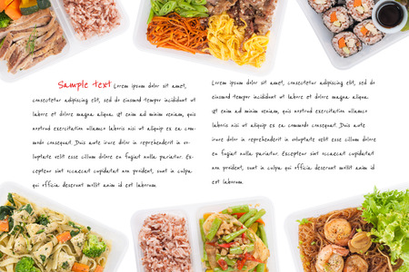 food concept: sushi, stir fried fish, fettuccine, roasted pork, grilled pork with eggs, and Shrimp and vermicelli baked with herbs cooked by clean food concept on white background with easy removable sample text