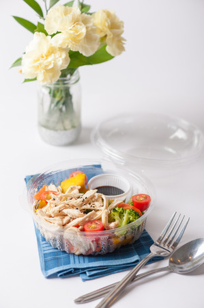shred: Salad soba with vegetables and shred chicken cooked by clean food concept in lunch box on white table