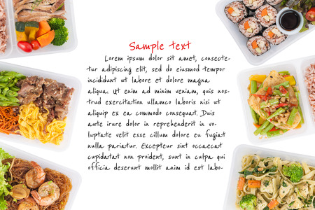 sushi, stir fried fish, fettuccine, roasted pork, grilled pork with eggs, and Shrimp and vermicelli baked with herbs cooked by clean food concept on white background with easy removable sample text