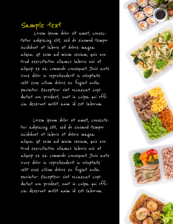 clean food: sushi, fettuccine, roasted pork, grilled pork with eggs, and Shrimp and vermicelli baked with herbs cooked by clean food concept with easy removable sample text on black background on left side Stock Photo